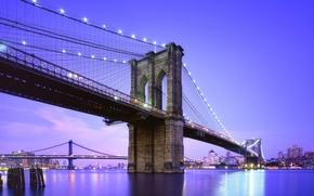 Wallpaper new York, twilight, USA, usa, new york city, nyc, brooklyn bridge, blue hour