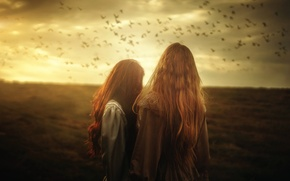 Picture birds, art, two girls, TJ Drysdale, Written On The Sky
