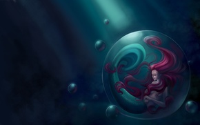 Picture sea, fiction, mermaid, art, tail, bubble, fin, red hair