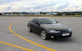 Picture car, tuning, Japan, coupe, wheels, drives, black, the airfield, japan, toyota, Lexus, rays, Toyota, soarer, …