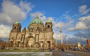 Picture the sky, clouds, people, tower, Germany, Cathedral, Berlin