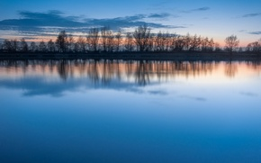 Picture the sky, water, clouds, sunset, lake, surface, reflection, blue, silence, the evening, Trees, a number