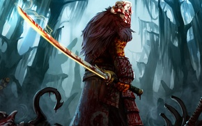 Picture forest, blood, sword, warrior, mask, art, hook, Dota 2, Juggernaut, ward, entroz