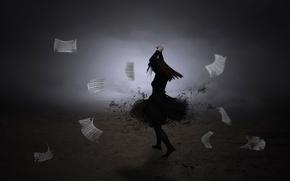 Picture girl, notes, dance, vortex, Dance