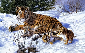 Picture winter, snow, art, tigers, tigress, the cubs, John Banovich