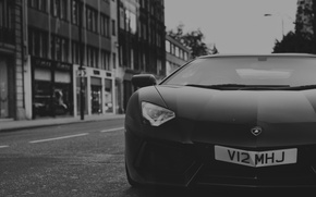 Picture Lamborghini, Front, Black, Street, LP700-4, Aventador, Supercar