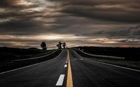 Picture landscape, the evening, road