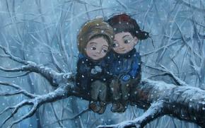 Picture winter, tree, feelings, branch, boy, girl, friends, care, Nino Chakvetadze