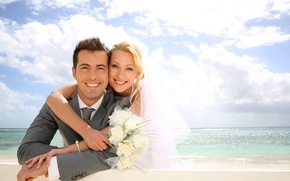Picture sea, joy, flowers, mood, bouquet, pair, wedding, the couple