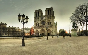 Picture winter, France, Paris, tree, area, lights, New year, tree, Paris, Notre Dame Cathedral, France, Notre ...