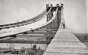 Wallpaper retro, bridge, history, photo, b/W, construction