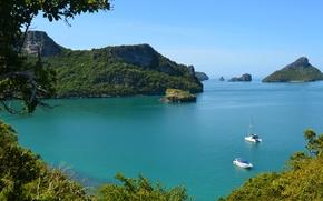 Wallpaper sea, trees, mountains, the ocean, boat, Thailand, catamaran, thailand, nature.
