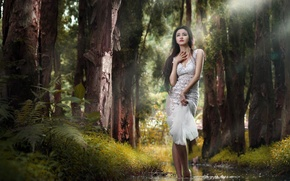 Wallpaper girl, forest, nature