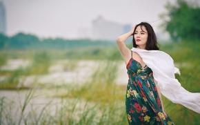 Picture girl, face, the wind, hair, dress, shawl