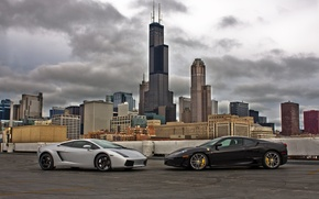 Picture the sky, clouds, black, silver, silver, gallardo, lamborghini, ferrari, Ferrari, black, Chicago, skyscrapers, f430, chicago, …