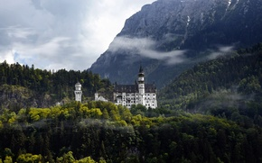 Wallpaper forest, mountains, castle, Germany, Neushwanstein