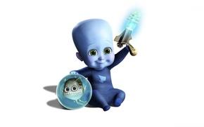 Wallpaper blue, fish, baby, Blaster, megamind, megamind