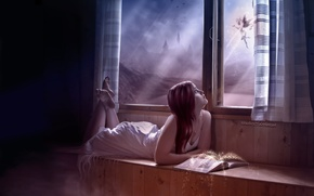Wallpaper magic, fairy, window, girl, star dust, book