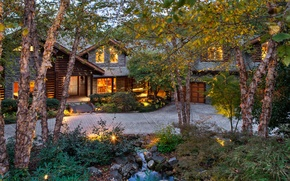 Picture forest, trees, house, sofa, tree, stone, garage, exterior, beds.