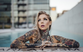 Picture girl, piercing, tattoo, Madison