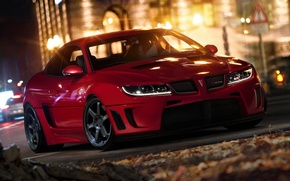 Picture machine, night, the city, lights, red, pontiac, gto