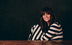 Picture pose, smile, makeup, dress, actress, hairstyle, brown hair, photoshoot, Felicity Jones, Felicity Jones, striped, Variety, …
