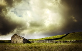 Picture field, landscape, house