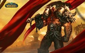 Picture warrior, Orc, wow, world of warcraft, Garrosh Hellscream, the leader, Horde, Horde, Garrosh Hellscream