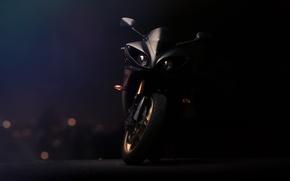 Picture black, lights, motorcycle, Supersport, black, front view, yamaha, bike, Yamaha, supersport, yzf-r1