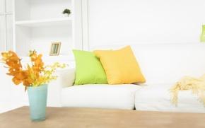 Wallpaper style, pillow, interior, flowers, design