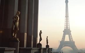 Picture city, Paris, sky, France, sunrise, building, cityscape, mist, La tour Eiffel, monument, the Eiffel Tower, …