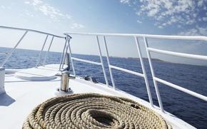 Wallpaper sea, breeze, yacht, rope