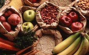 Wallpaper apples, peas, bananas, carrots, potatoes, Krupa
