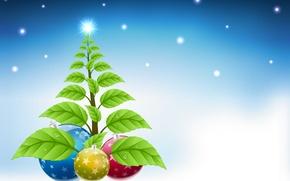 Wallpaper leaves, drops, snow, holiday, balls, graphics, new year, Christmas, tree, christmas, new year