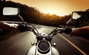 Picture road, nature, movement, markup, view, speed, the evening, blur, turn, face, motorcycle, biker, bike, moto, ...