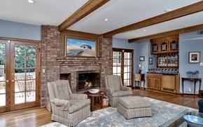 Picture design, style, Villa, interior, fireplace, living room, San-Juan Capistrano