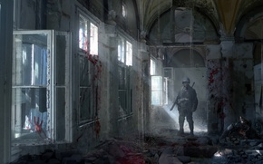 Picture blood, Windows, corridor, soldiers, destruction, gas mask