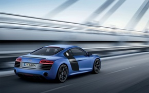 Picture Audi, Auto, Audi, Blue, V10, Coupe, Sports car, In Motion