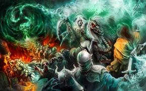 Picture fire, magic, Girl, the portal, battle, undead, necromancer