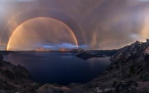 Picture the sun, nature, lake, rain, rainbow