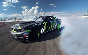 Picture Mustang, Ford, Drift, Clouds, Smoke, Tuning, Competition, Sportcar