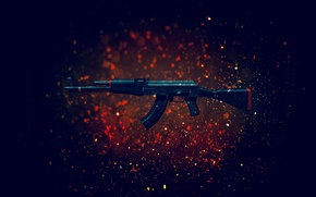 Wallpaper weapons, background, machine, Kalash, CS:GO