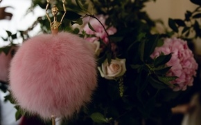 Picture macro, flowers, pink, fur, ballerina