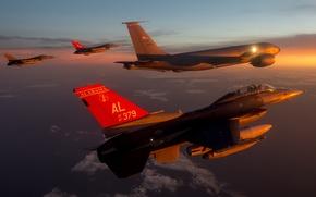 "Wallpaper the sky, clouds, flight, fighter, F-16, Fighting Falcon, multipurpose, ""Fighting Falcon"""