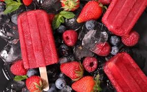 Wallpaper ice, strawberry, strawberries, blueberries, sweet, ice cream, raspberry, berries, blueberries, raspberries, sweet, ice, ice cream