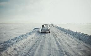 Picture road, machine, snow, Moskvich 407