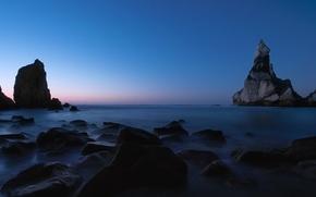 Wallpaper sea, rocks, twilight