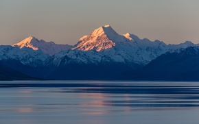 Picture landscape, mountains, the ocean, New Zealand, Mount Cook National Park, the Aoraki
