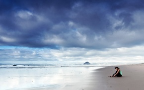 Picture beach, the sky, girl, clouds, pose, The ocean