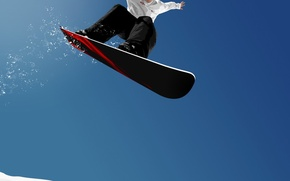 Picture snow, flight, Snowboard